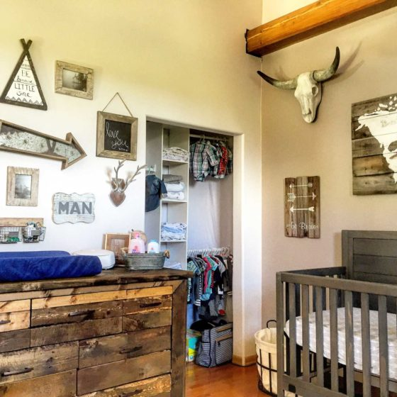 Vintage style decorated baby room