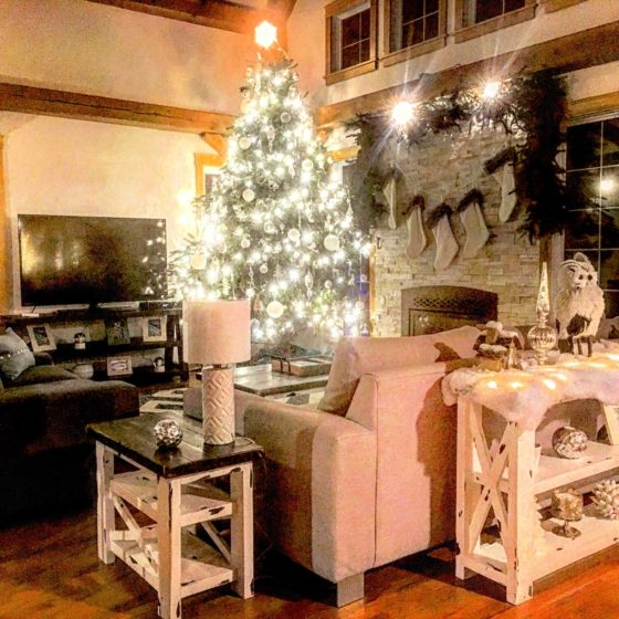 Interior Decorating Christmas Decorated Living Room