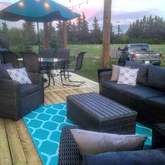 Outdoor deck patio with outdoor furniture